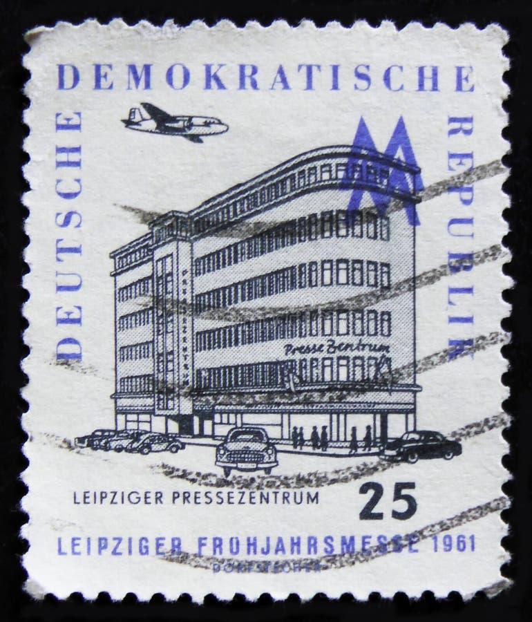 Biulding central de presse de Leipzig d'expositions de timbre-poste de la RDA Allemagne, vers 1961 photographie stock