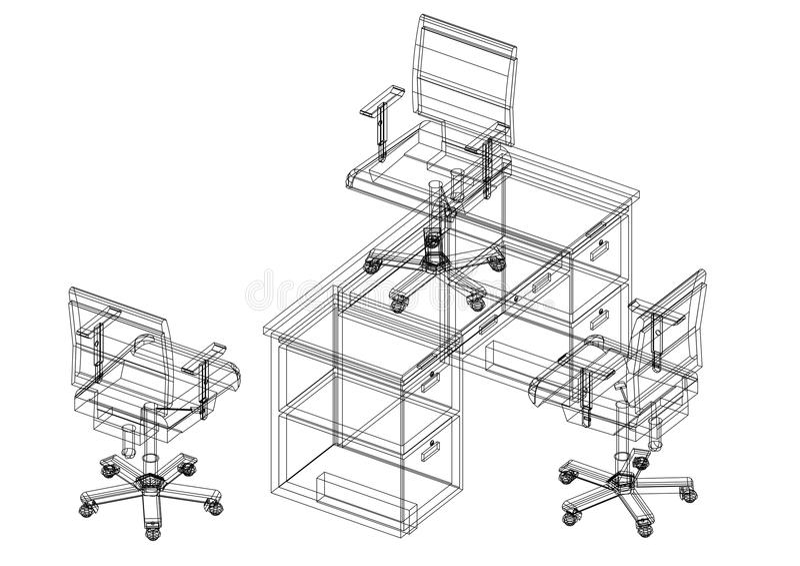 Biur krzesła i stołowy 3D projekt odosobneni - ilustracji