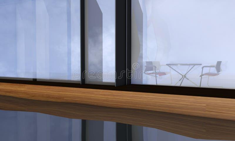 Biur krzesła przez okno odbijali w wodzie ilustracji