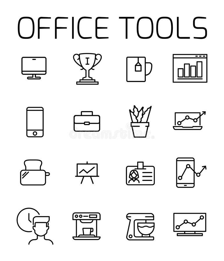 Biur narzędzi ikony powiązany wektorowy set ilustracji