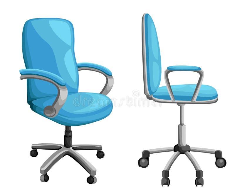 Biura lub biurka krzesło w różnorodnych punktach widzenia Karło lub stolec w przodzie, plecy, boczni kąty Korporacyjny rycynowy m ilustracja wektor