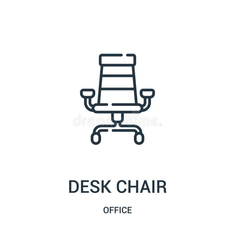 biurka krzesła ikony wektor od biurowej kolekcji Cienka kreskowa biurka krzesła konturu ikony wektoru ilustracja ilustracji