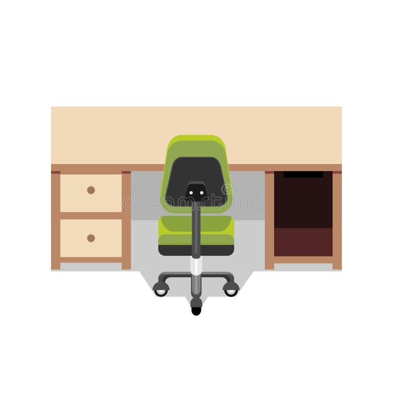 Biurko i krzesło workspace royalty ilustracja
