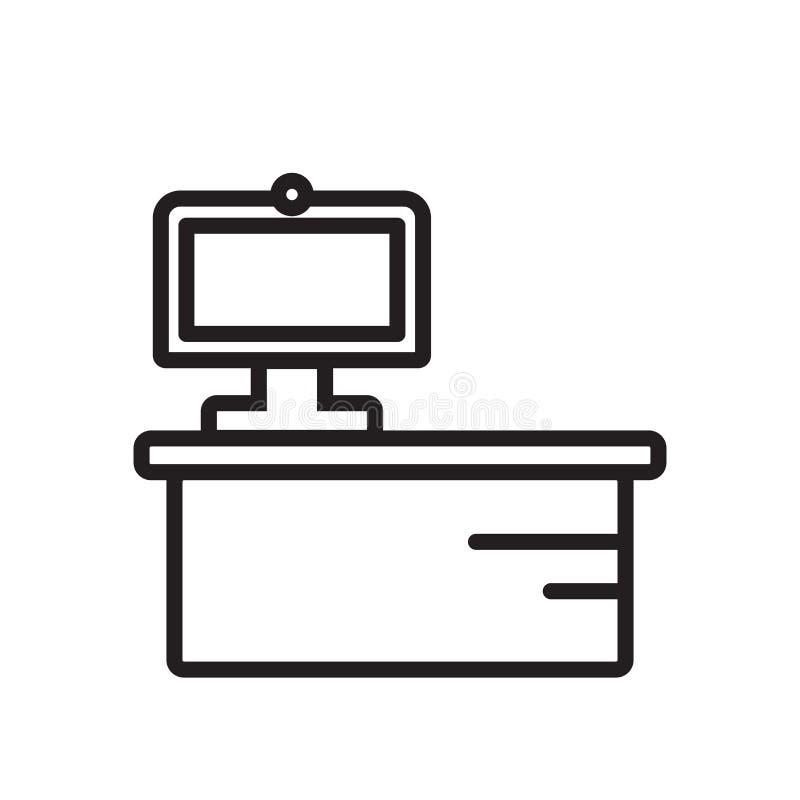 Biurko ikony wektor odizolowywający na białym tle, biurko znak royalty ilustracja