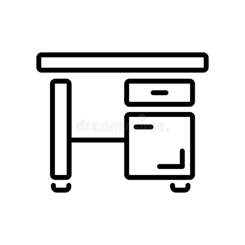 Biurko ikony wektor odizolowywający na białym tle, biurko znak, linea royalty ilustracja
