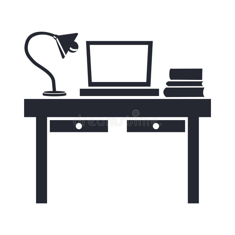 Biurko ikony wektoru znak i symbol odizolowywający na białym tle, d ilustracja wektor