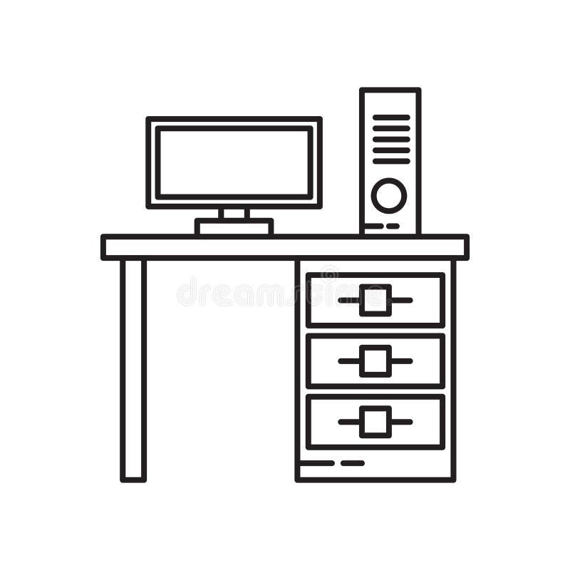 Biurko ikony wektoru znak i symbol odizolowywający na białym tle, biurko logo pojęcie ilustracja wektor