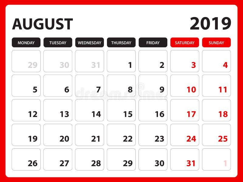 Biurko kalendarz dla SIERPIEŃ 2019 szablonu, Printable kalendarz, planisty projekta szablon, tydzień zaczyna na Niedziela, materi ilustracja wektor