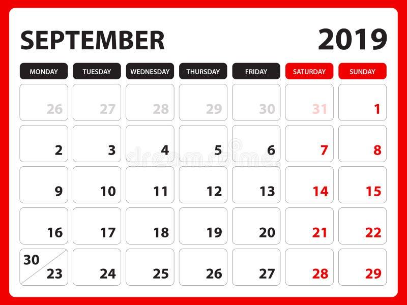 Biurko kalendarz dla WRZEŚNIA 2019 szablonu, Printable kalendarz, planisty projekta szablon, tydzień zaczyna na Niedziela, materi ilustracji