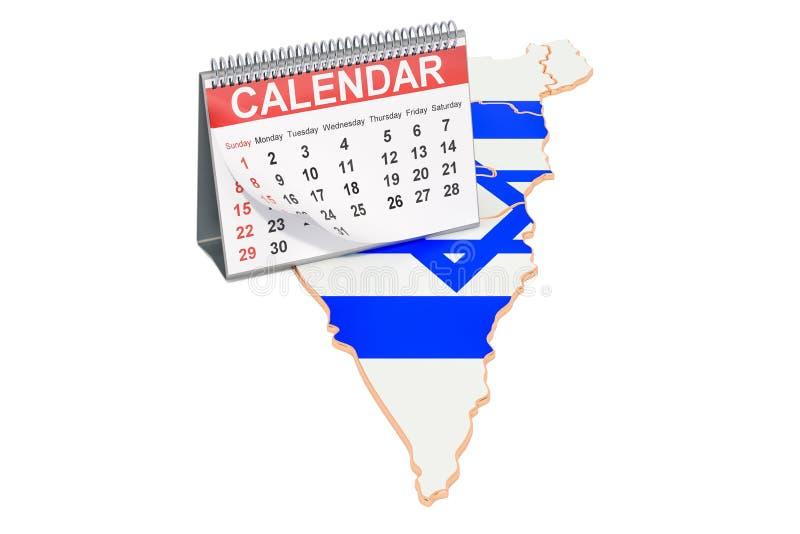 Biurko kalendarz na mapie Izrael ?wiadczenia 3 d royalty ilustracja