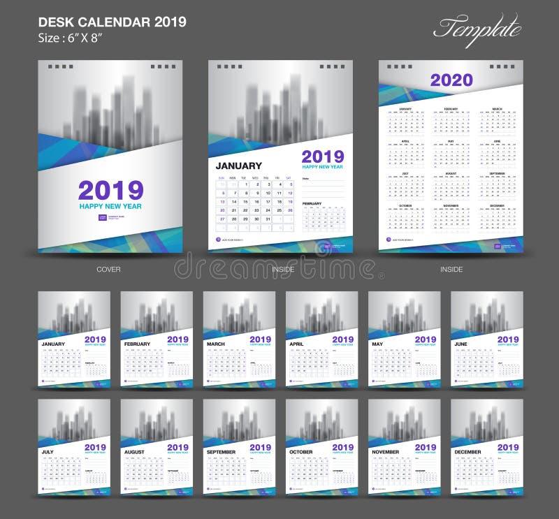 Biurko kalendarz 2019 rok rozmiar 6, 8 x calowy szablon, błękita kalendarza 2019 szablon, set 12 miesiąca, tydzień Zaczyna Ponied ilustracja wektor