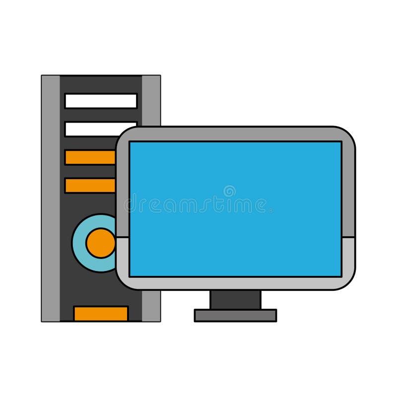 Biurko komputer z jednostką centralną ilustracja wektor