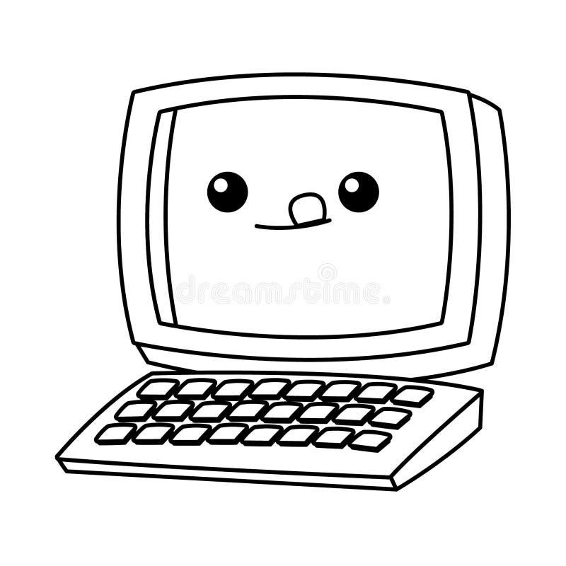 Biurko komputer z klawiaturową kawaii kreskówką w czarny i biały royalty ilustracja