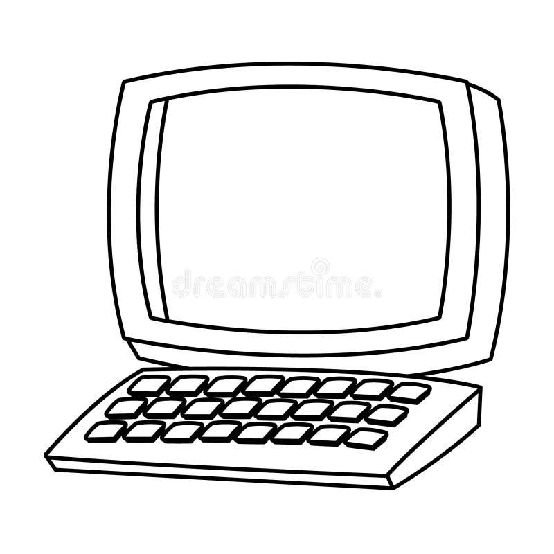 Biurko komputer z klawiaturową kreskówką w czarny i biały ilustracja wektor