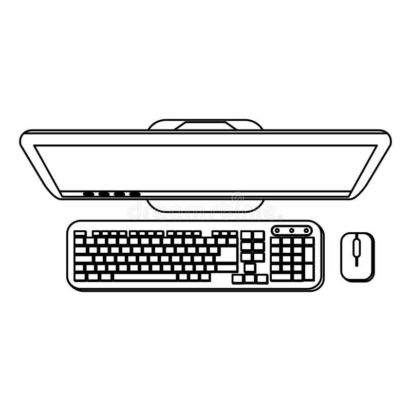 Biurko komputer z klawiatury i myszy topview w czarny i biały royalty ilustracja