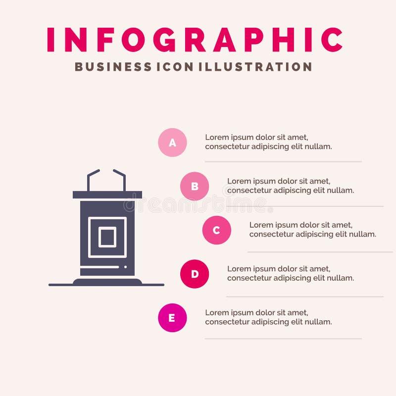 Biurko, konferencja, spotkanie, profesor ikony Infographics 5 kroków prezentacji Stały tło royalty ilustracja