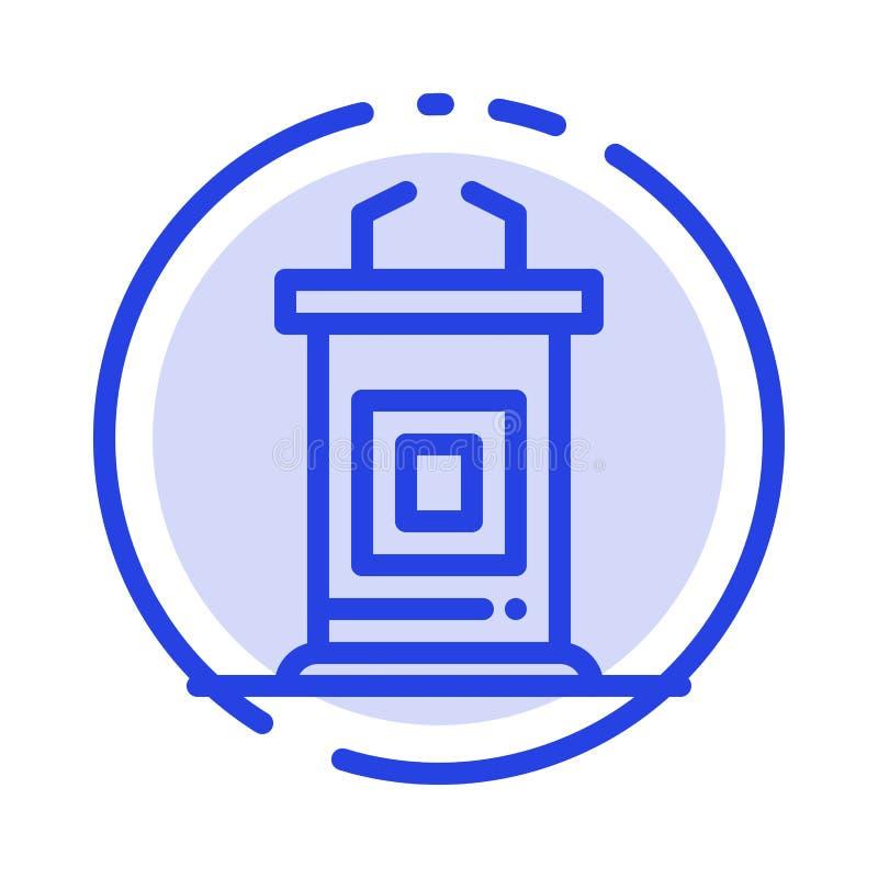 Biurko, konferencja, spotkanie, profesor linii linii błękit Kropkująca ikona ilustracji