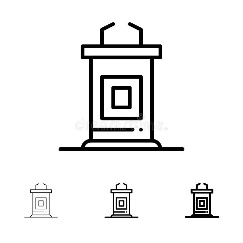 Biurko, konferencja, spotkanie, profesora czerni linii ikony set, Śmiały i cienki ilustracji
