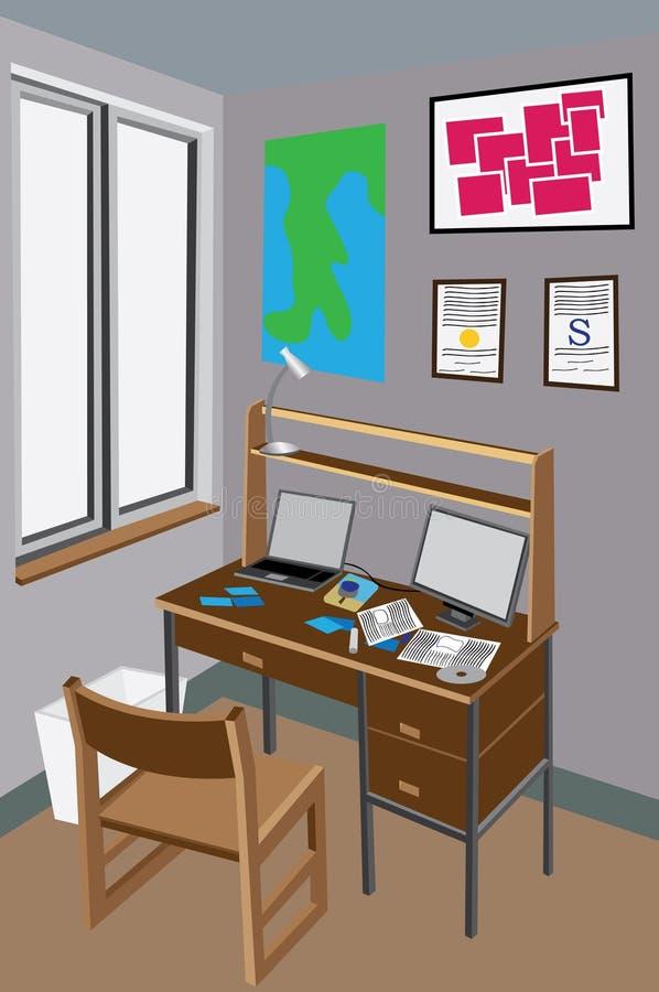 biurko upaćkany ilustracji
