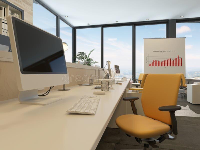 Biurko w nowożytnym biurowym wnętrzu ilustracji
