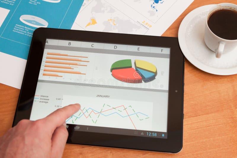 Biurko z cyfrową pastylką. Marketingowy badanie. zdjęcie royalty free