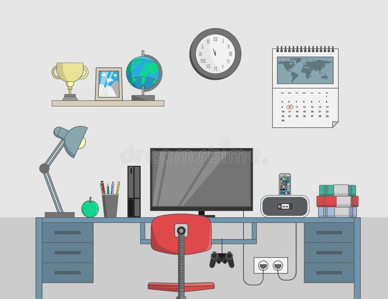 Biurko z komputerem w biurowym pokoju ilustracji