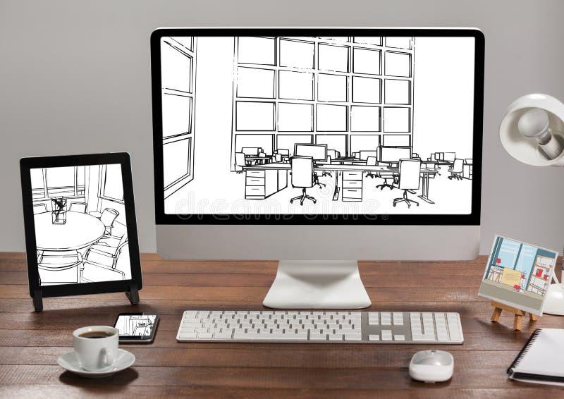 biurko z pastylką, komputerem i telefonem, 1 biurowy projekt w each jeden (wszystkie czarny i biały) obrazy stock