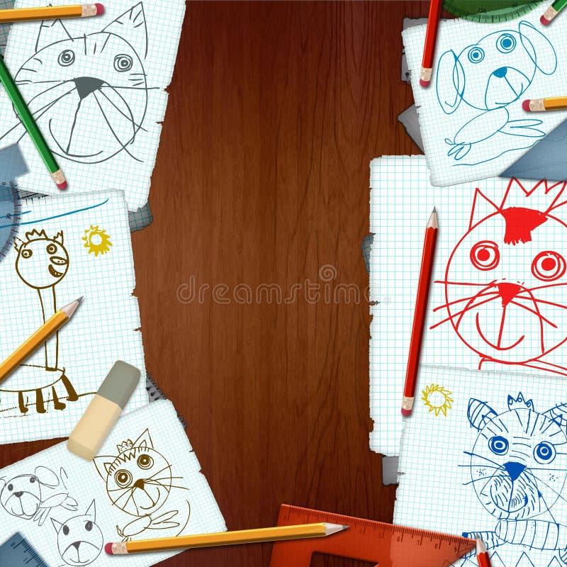 Biurko z rysunkami dzieci ilustracja wektor