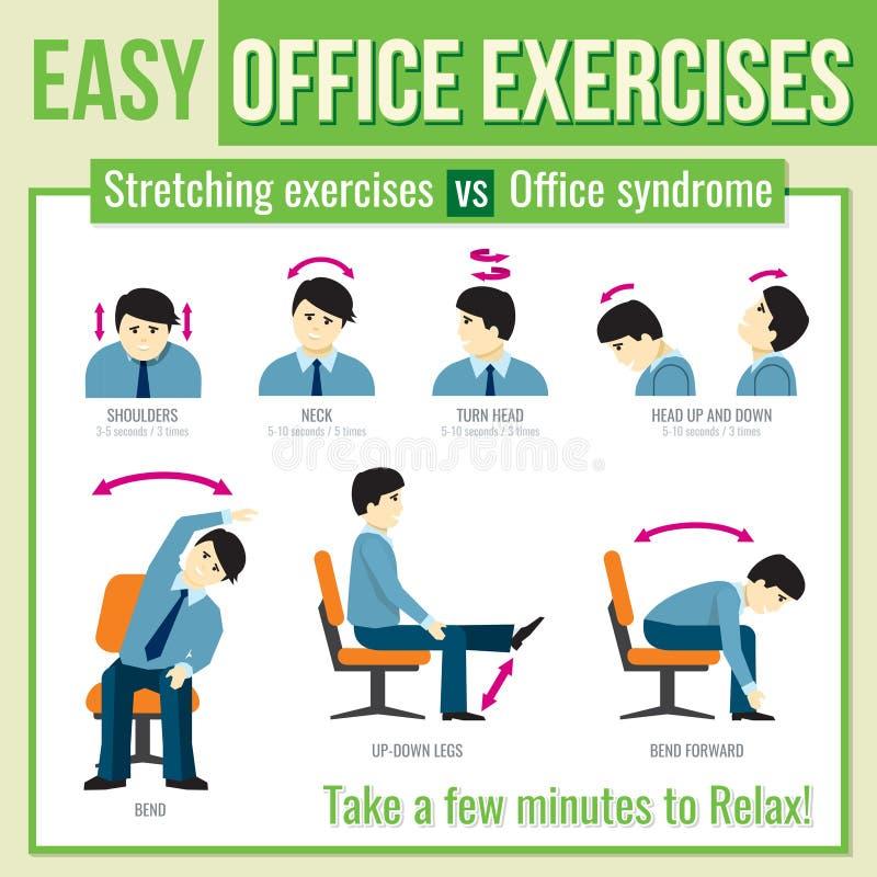 Biuro ćwiczy z biznesmena charakterem Wektor infographic royalty ilustracja