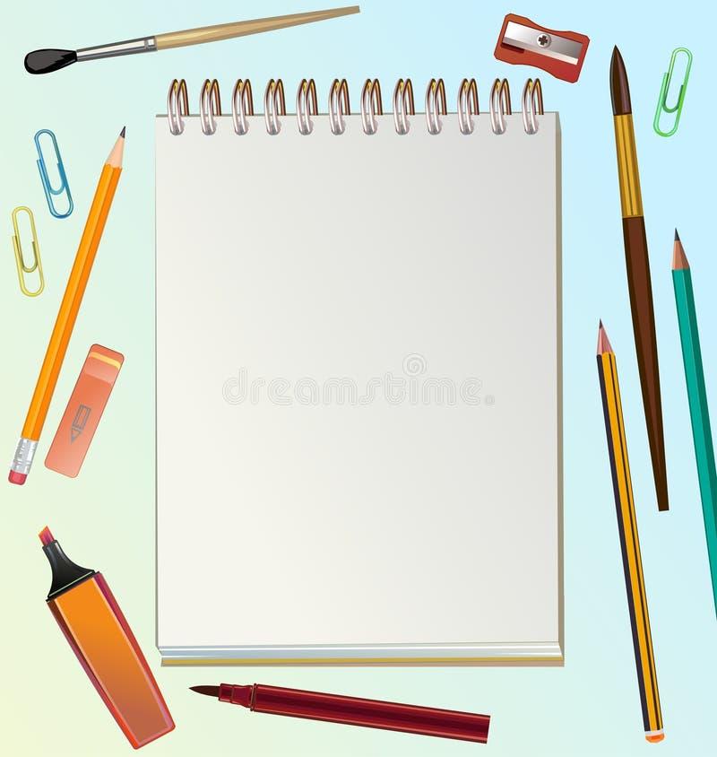 Biuro artysty Wektor Obszar roboczy widoku wykonawcy z góry Dla baneru, strony WWW, plakatu, drukowania Pędzle, ołówki, farby royalty ilustracja