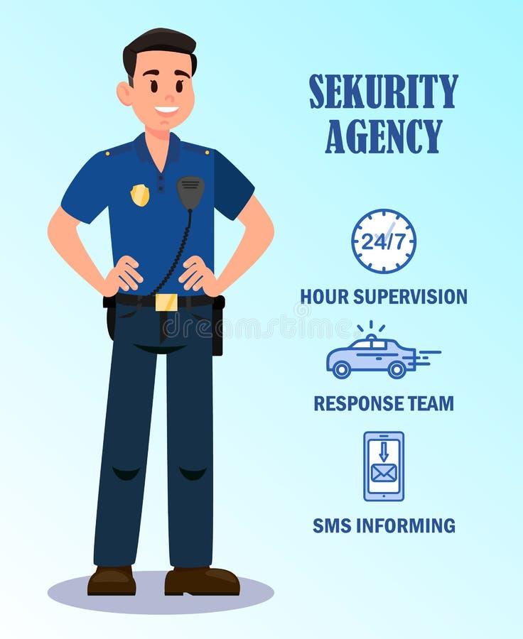 Biuro Bezpieczeństwa Usługuje Wektorowego sztandaru szablon royalty ilustracja