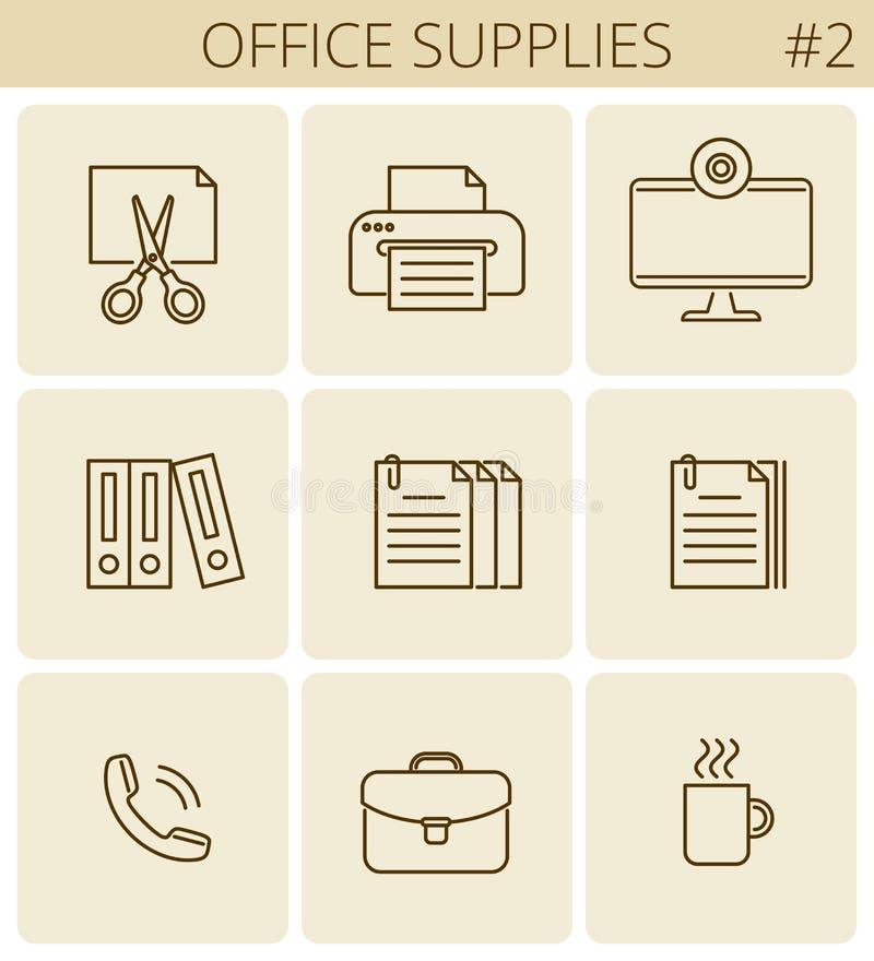 Biuro, biznesowi dostawy linii symbole Wektoru konturu cienka ikona ilustracji