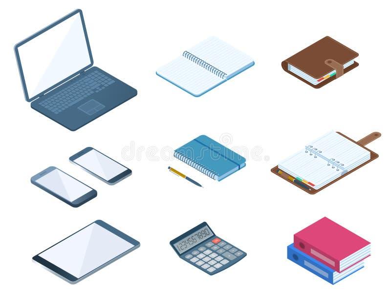 Biuro, biznesowy desktop miejsca pracy materiały set Płaski wektor ja ilustracji