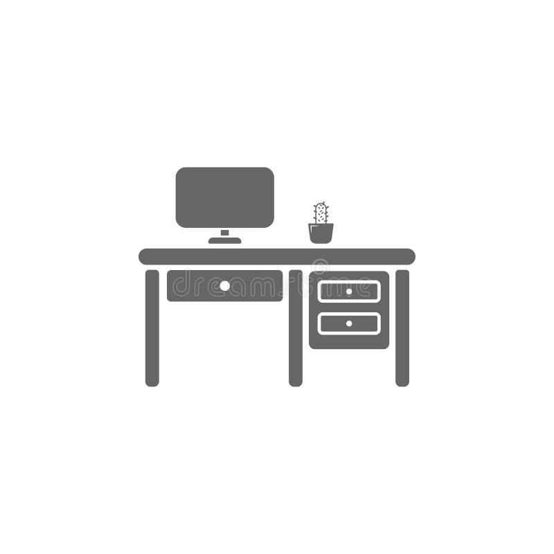 Biuro stołowa ikona Prosta element ilustracja Biuro symbolu projekta Stołowy szablon Może używać dla sieci i wiszącej ozdoby ilustracji