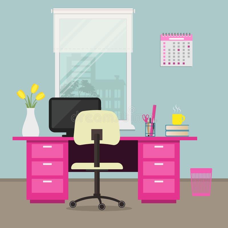 Biuro w różowym kolorze workplace Ministerstwo Spraw Wewnętrznych ilustracja wektor
