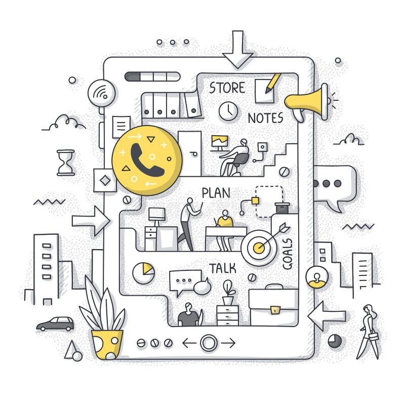Biuro w Twój telefonie komórkowym Ręka Rysujący Doodle pojęcie ilustracji