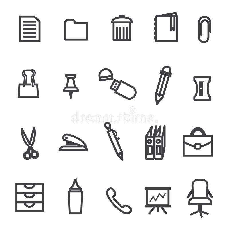 Biuro wytłacza wzory ikona set fotografia stock