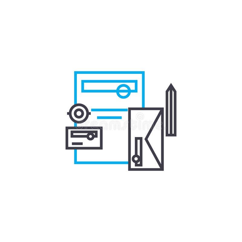Biuro wytłacza wzory liniowego ikony pojęcie Biurowych narzędzi wektoru kreskowy znak, symbol, ilustracja ilustracja wektor