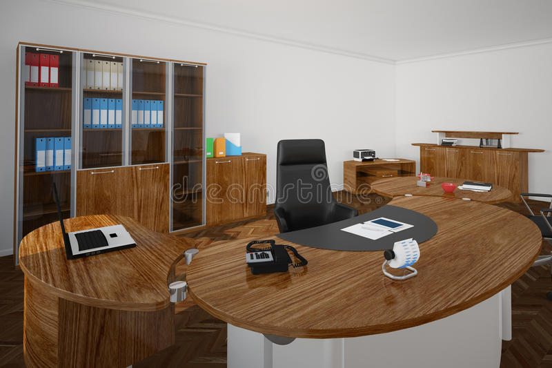 Biuro z drewnianymi furnitures ilustracja wektor