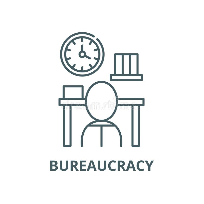Biurokracja wektoru linii ikona, liniowy pojęcie, konturu znak, symbol royalty ilustracja