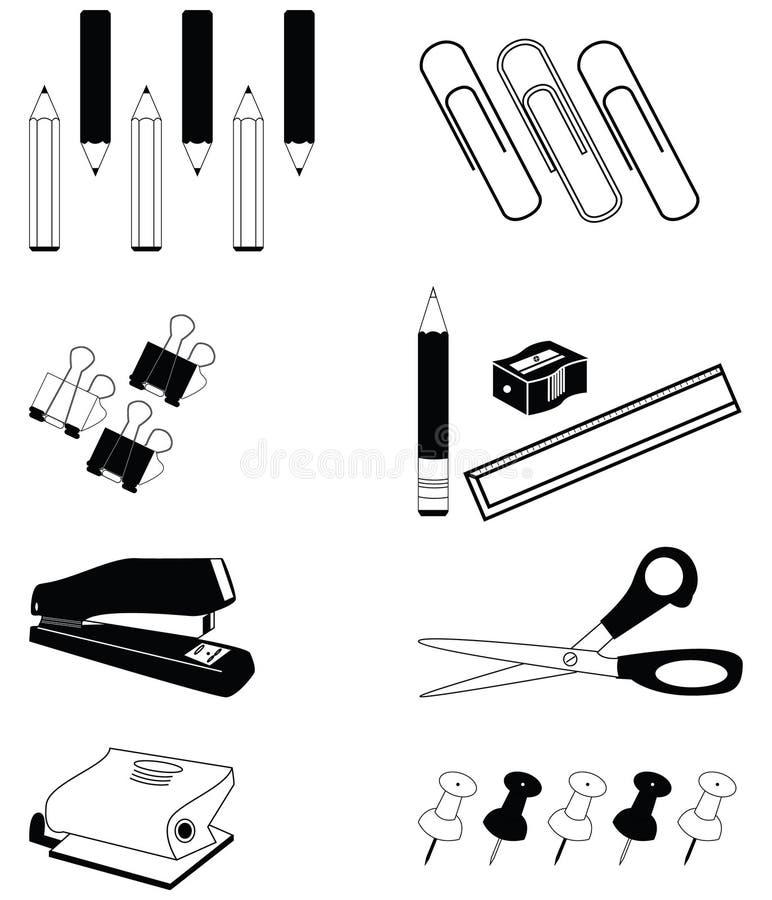 Biurowa akcesoria ikona ustawiająca w czarny i biały ilustracji
