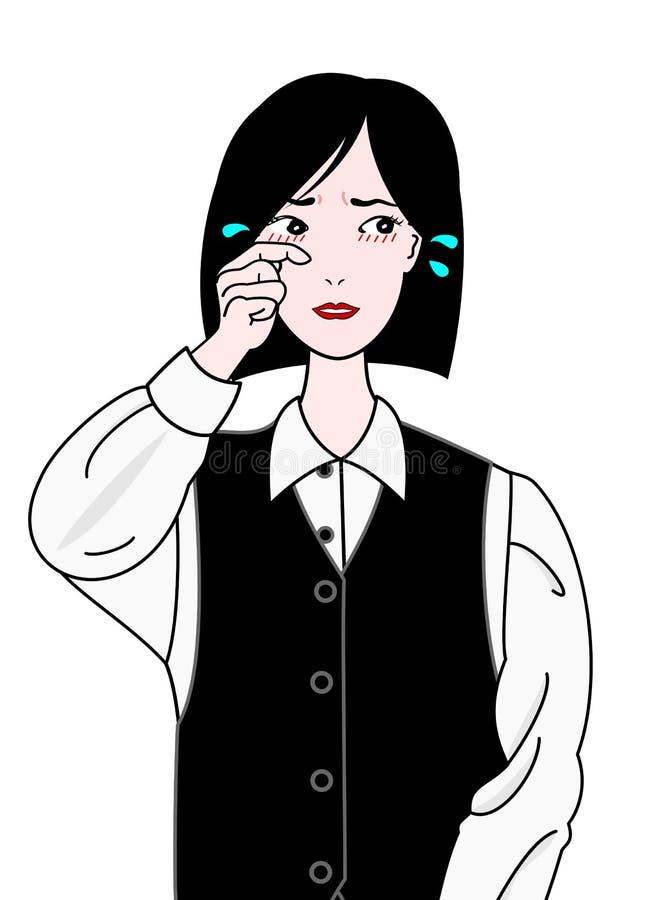 Biurowa dziewczyna świerzbieje oczy, cierpi od siano febry ilustracja wektor