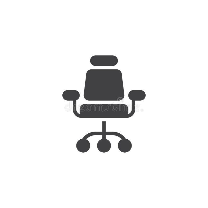 Biurowa krzesło frontowego widoku wektoru ikona royalty ilustracja
