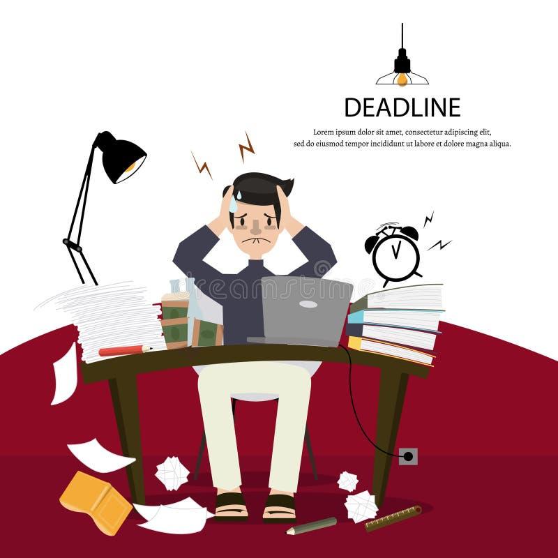 Biurowa mężczyzna praca mocno, migreny przez uzupełniający jak planujący i ilustracja wektor