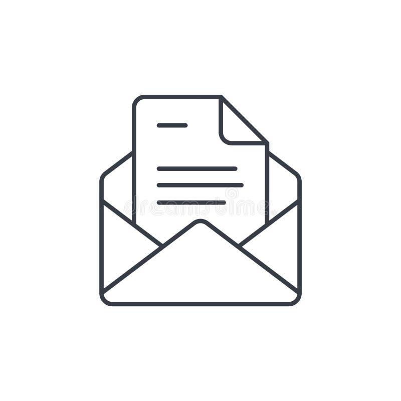 Biurowa poczta, otwarta koperta, email cienka kreskowa ikona Liniowy wektorowy symbol royalty ilustracja