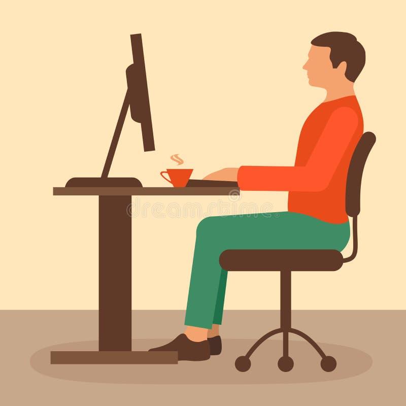 Biurowa praca, biurko pracownik ilustracja wektor