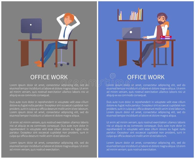 Biurowa praca Plakatowy Mae Odpoczywa przy miejsce pracy wektorem ilustracji