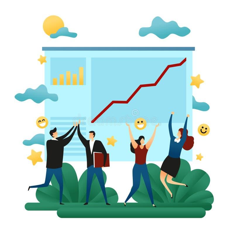 Biurowa spółdzielni praca zespołowa szczęśliwi ludzie biznesu Sukcesu heblowanie Kreskowy Grouth kierunek Pomyślna ścieżka Egzeku ilustracji