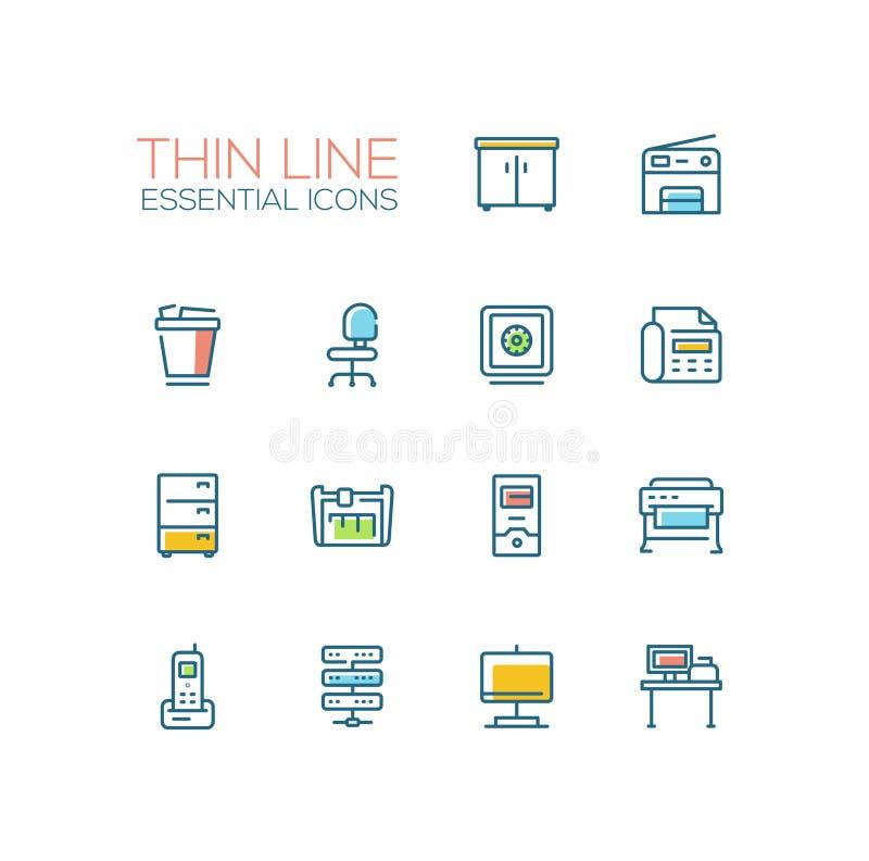Biurowe dostawy - Cienkie Pojedynczej linii ikony Ustawiać ilustracji