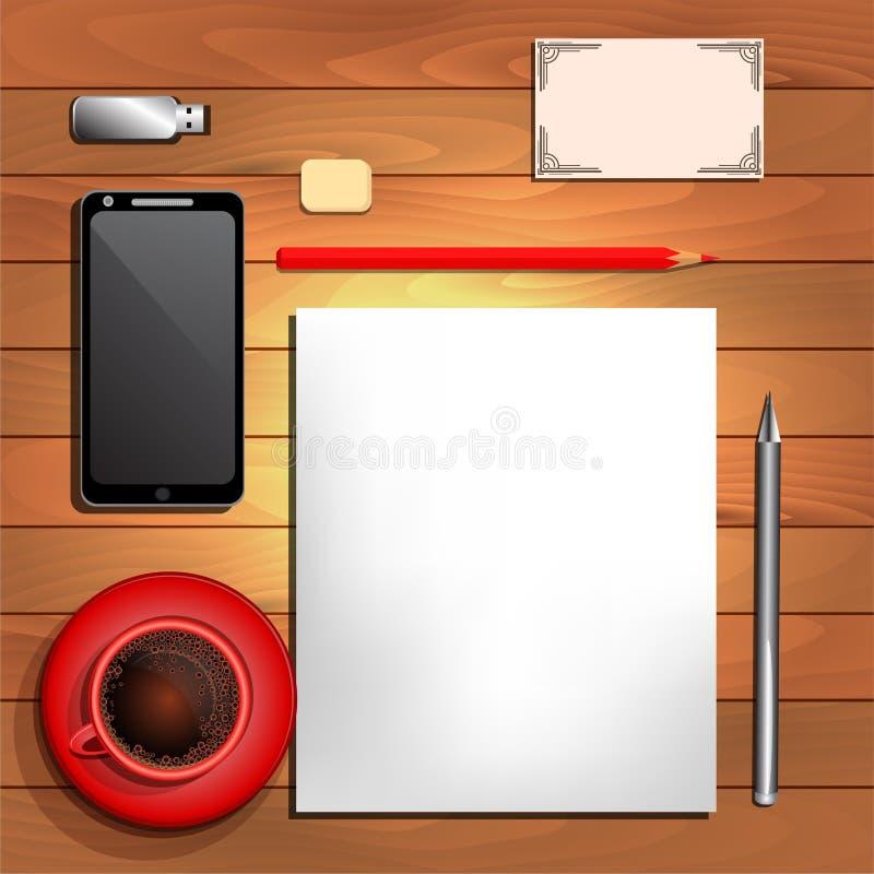 Biurowe dostawy, czarna kawa, papier i czerwień ołówek, ilustracji